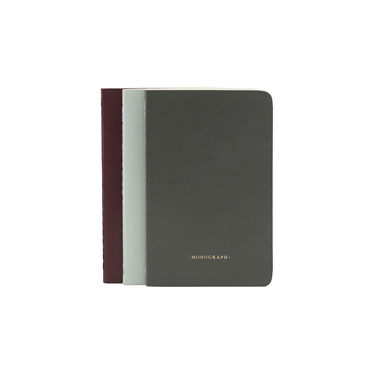 Monograph-Notesbog 9x14cm, Grøn/Grå/Blå