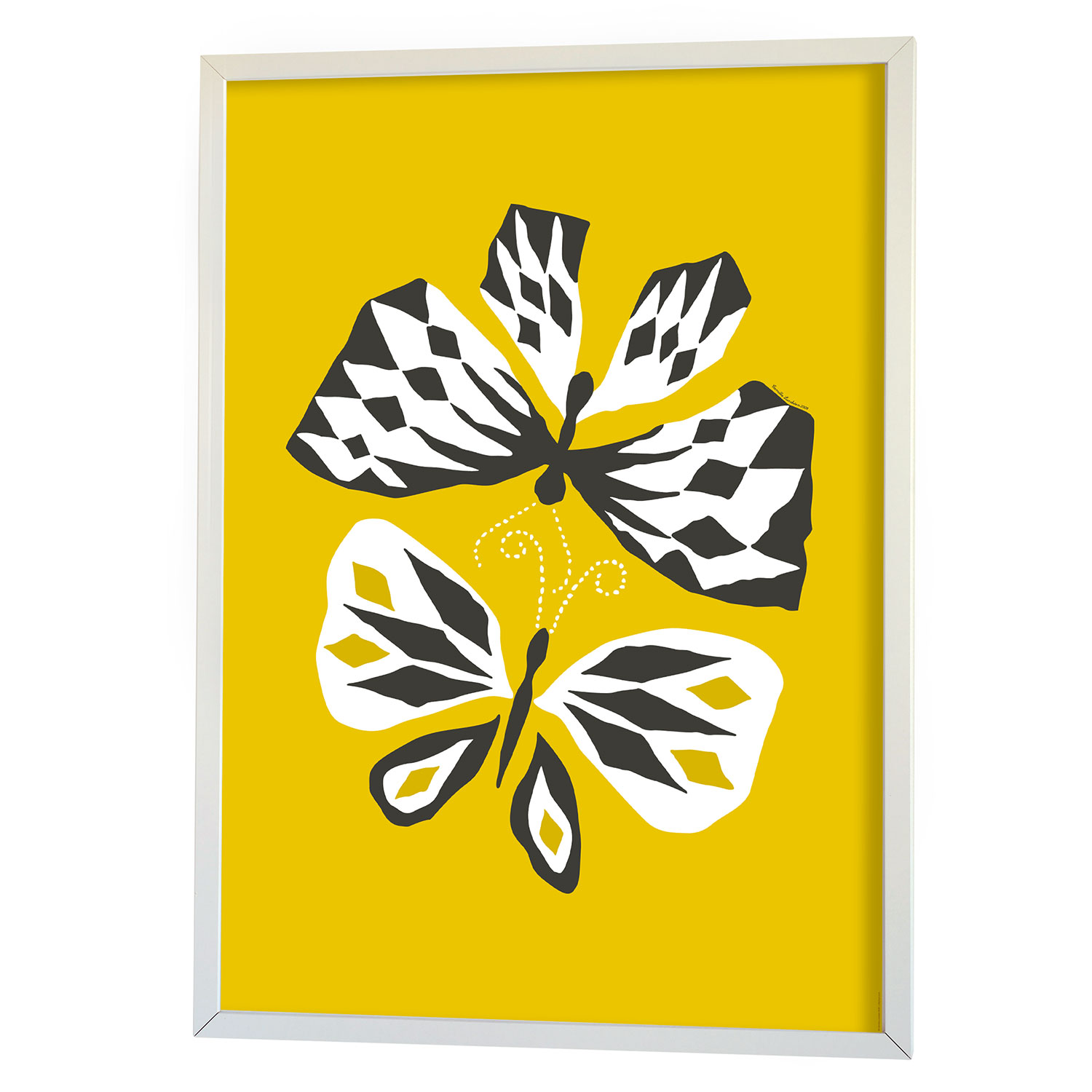 Butterfly Love Graphic Print 70x100cm, Keltainen, Littlephant