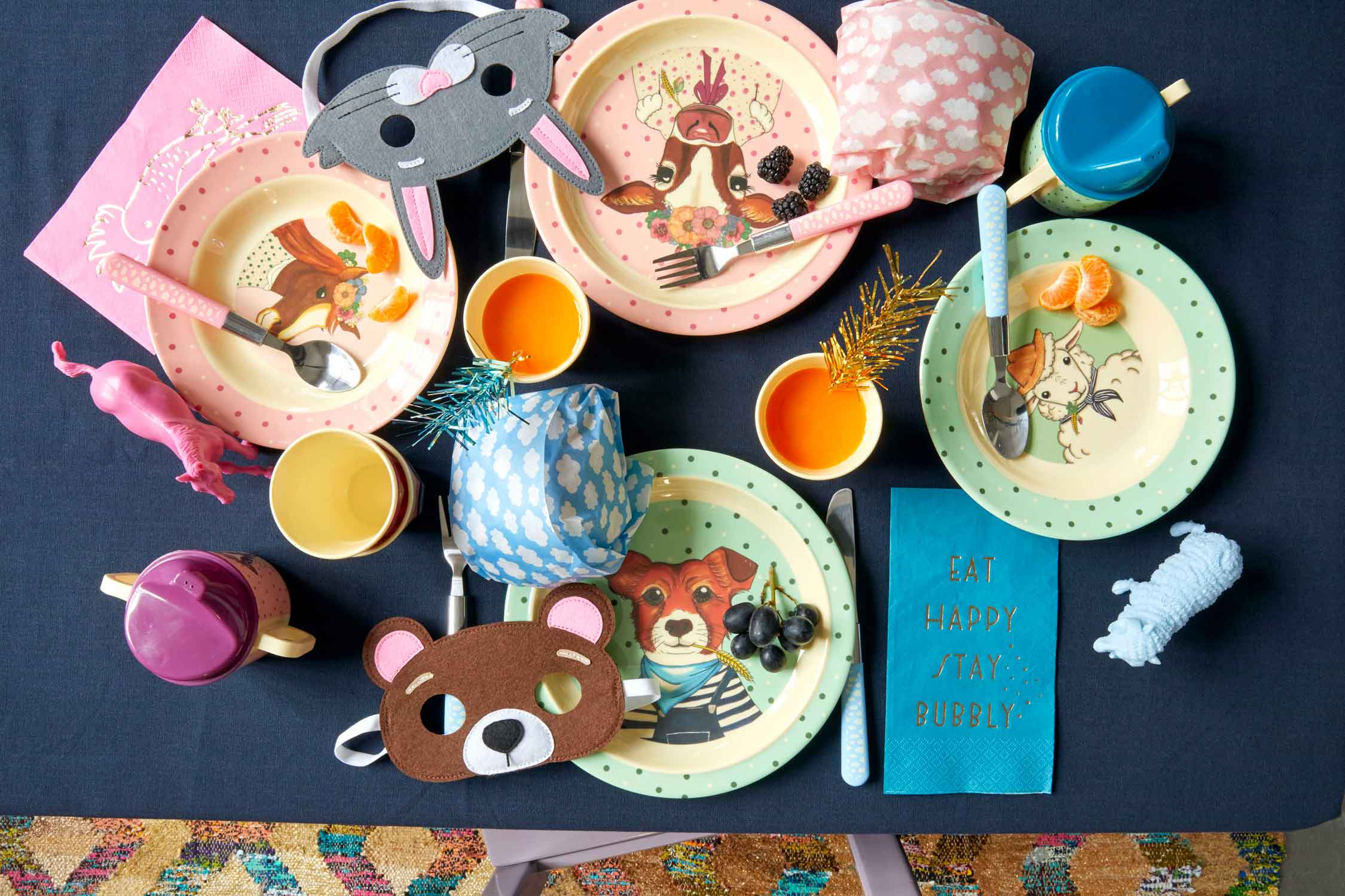 Rice Melamine Kids Lunch Plate with Farm Animals Print Pink