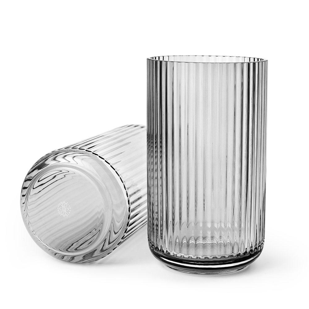 Groovy The Lyngby Vase Glass 25cm, Grey Smoke - Lyngby Porcelæn @ RoyalDesign YB05