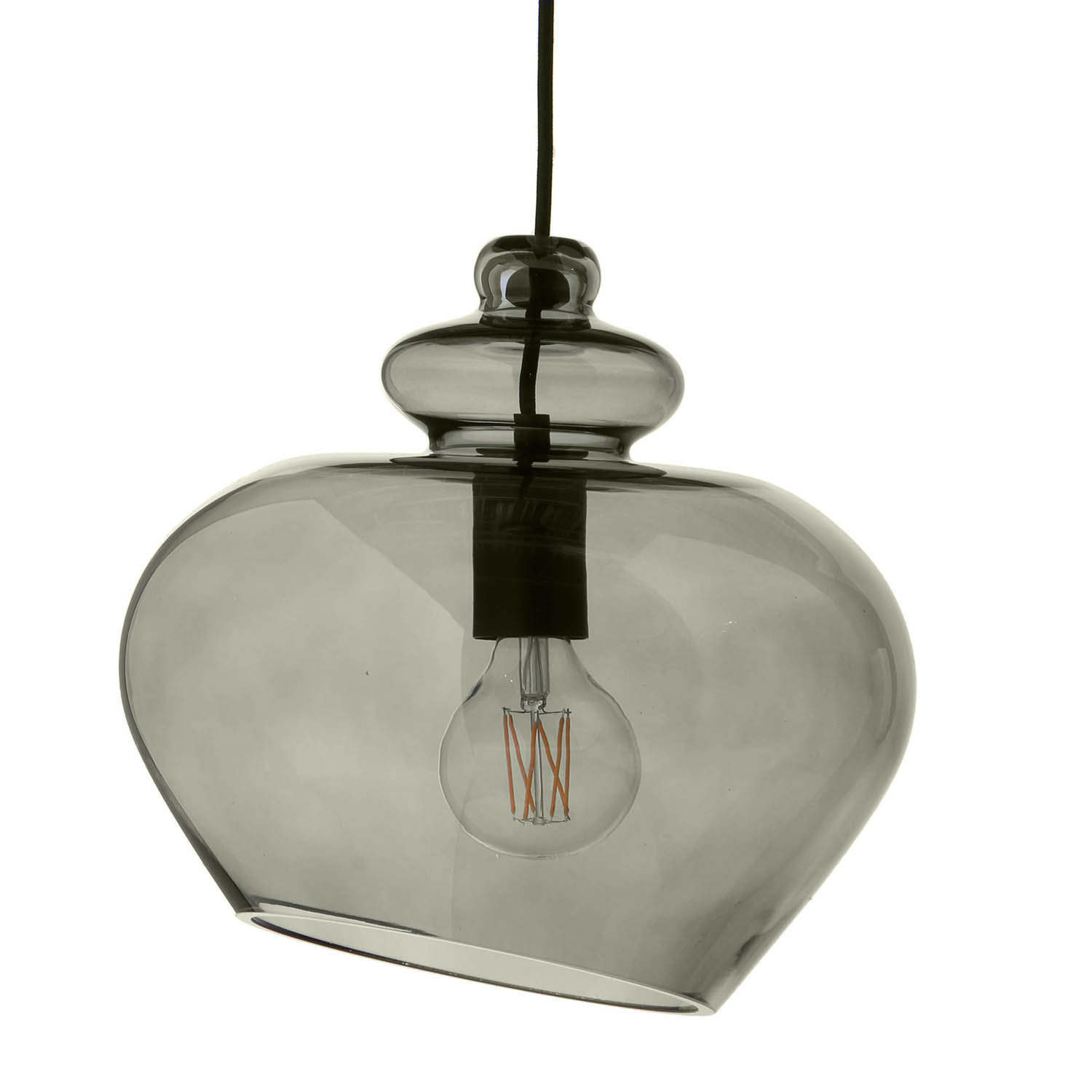 Frandsen-Grace glass roof pendant, Green/Black socket Ø30 cm