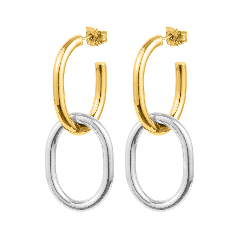 Two Tone Earrings Gold Silver