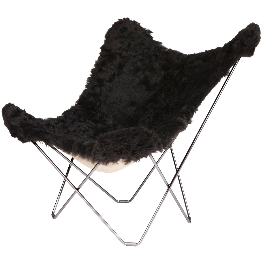 Iceland Mariposa Butterfly Chair, Shorn Black/C...