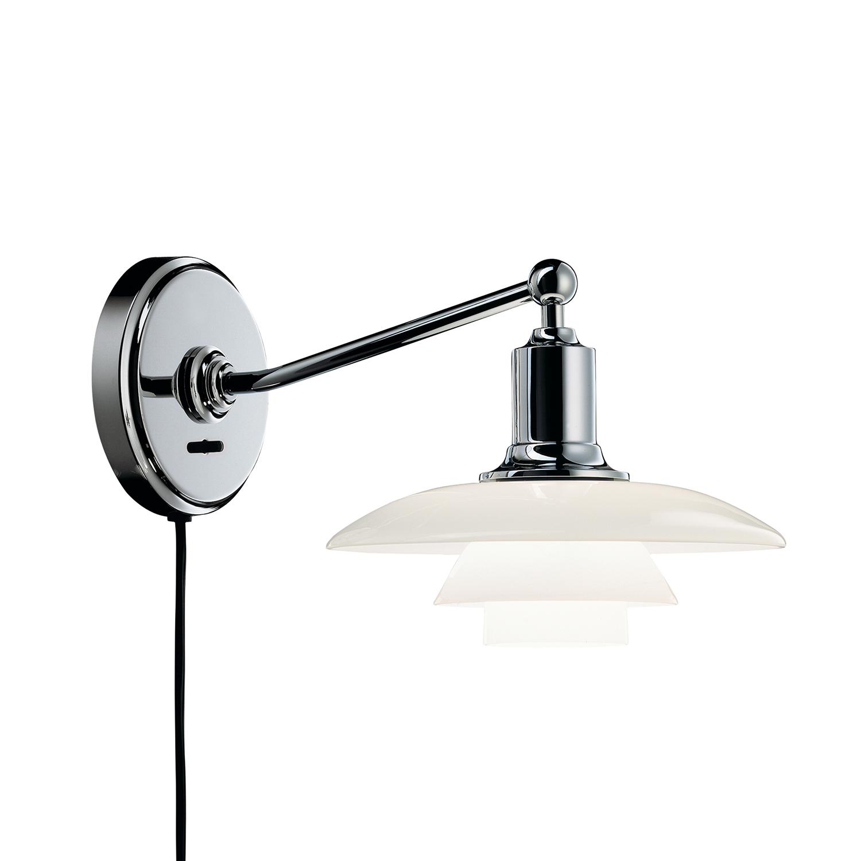 PH 2/1 Vägglampa, Förkromad/Vitt Opalglas