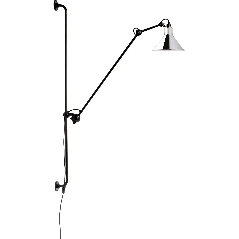 N°214 Vägglampa, Svart / Krom