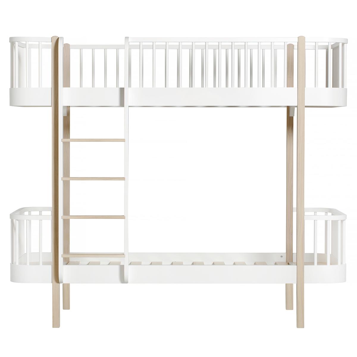 Wood Våningssäng, 90x200cm, Vit/Ek