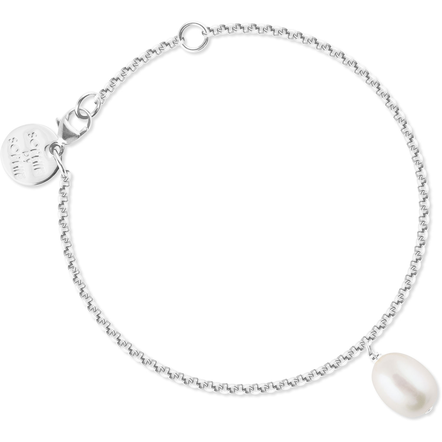 Oval Pearl Armband, Silver