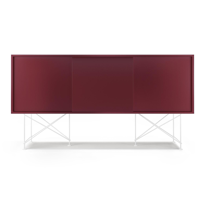 Decotique-Vogue Sideboard 180H, Vinrød/3WR/Hvid