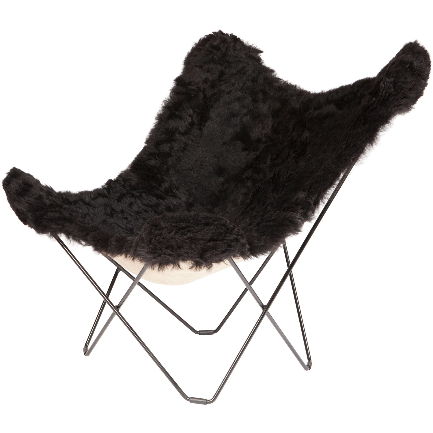 Iceland Mariposa Butterfly Chair, Shorn Black/B...