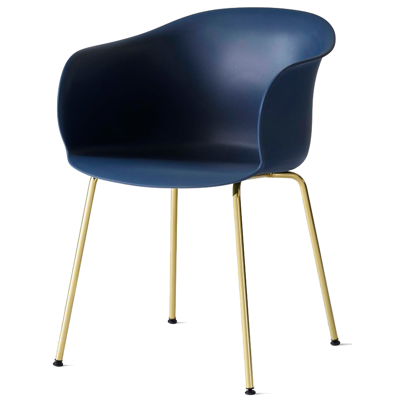 Bilde av &Tradition-Elefy Chair JH28 Brass Base / Blue Midn. Shell