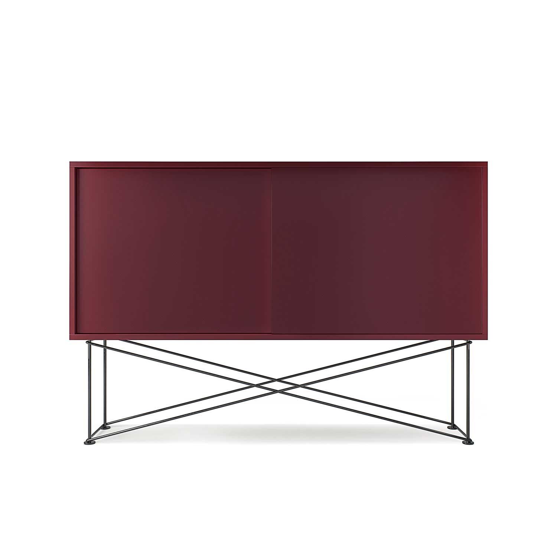 Decotique-Vogue Sideboard 136H, Vinrød/2WR/Sort