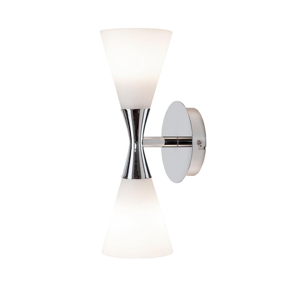 Herstal-Harlekin Duo Væglampe, Krom/Hvid