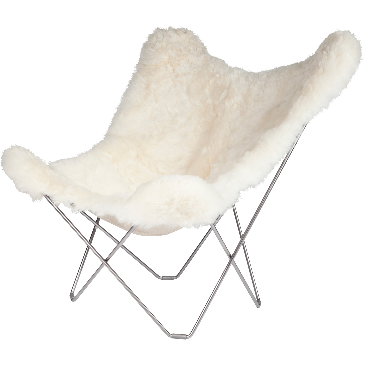 Iceland Mariposa Butterfly Chair, Shorn White/C...