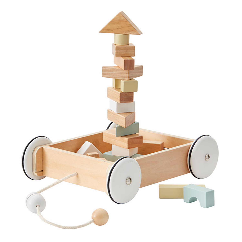 Kids Concept-Vogn Med Klodser, Natur/Hvid/Grå