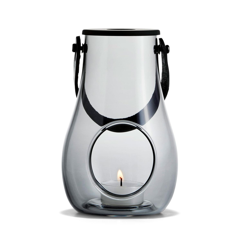 Bilde av Holmegaard-DWL Lanterne Med Lærhåndtak 16cm, Smoke
