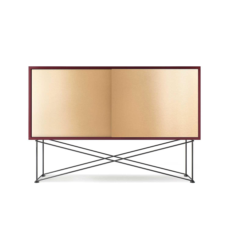 Vogue Sideboard 136H, Vinröd/2B/Svart