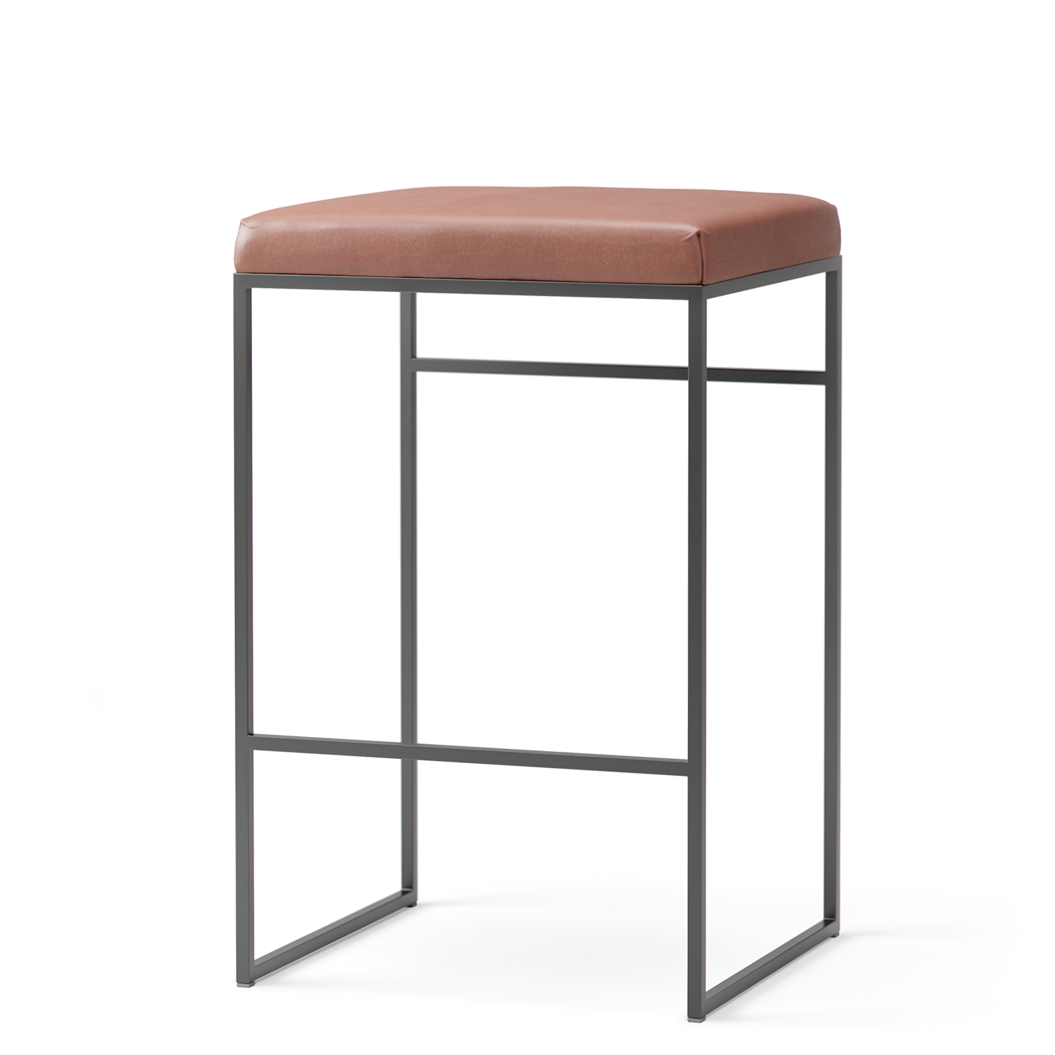 Department-Bar Stool Low Without Backrest, Black / Brown Leather