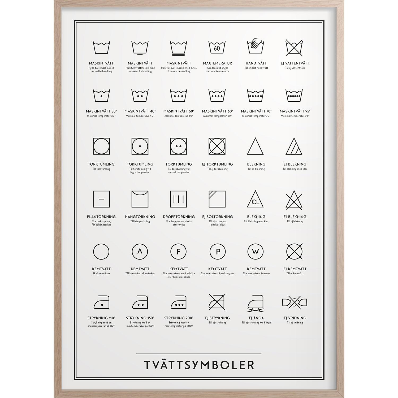 Tvättsymboler Poster, 30x40 cm