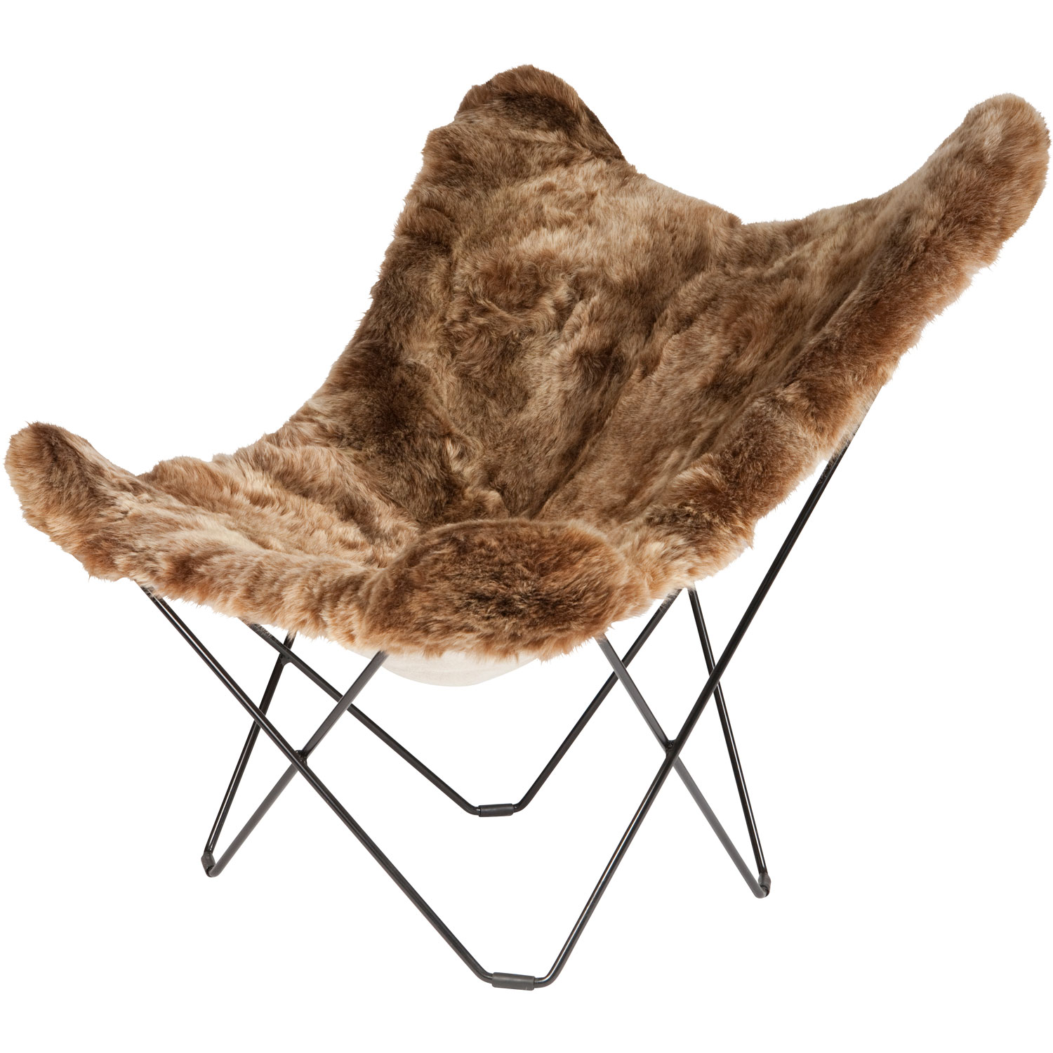 Iceland Mariposa Butterfly Chair, Shorn Brown/B...