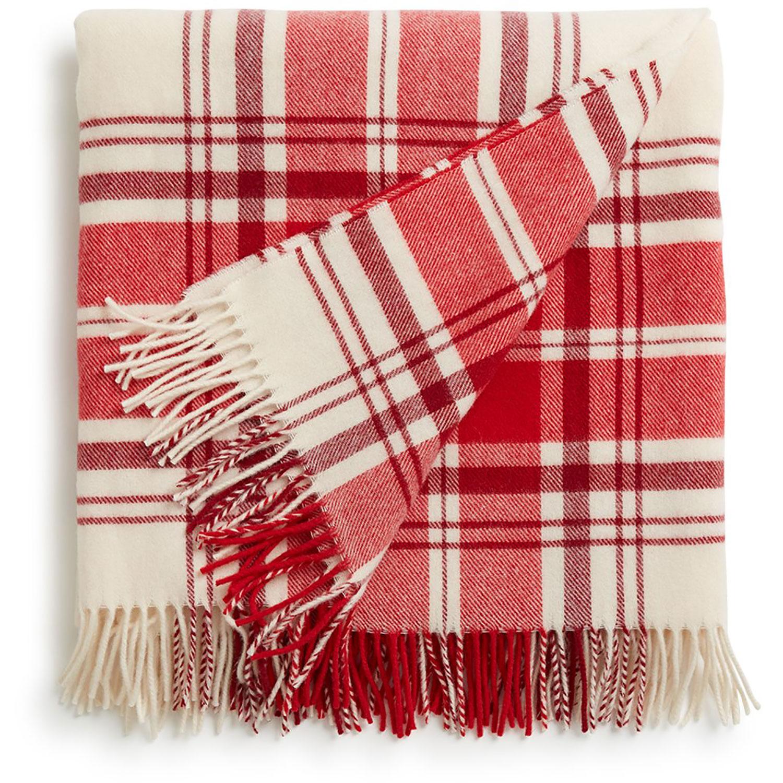 Classic Wool Pläd 130x170, Röd/Vit