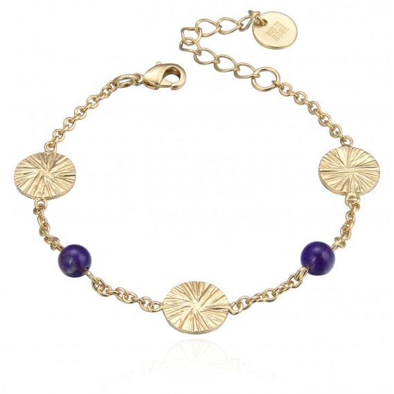 Belize Mix Armband, Purple/Gold