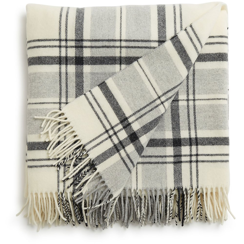 Classic Wool Pläd 130x170, Grå/Vit
