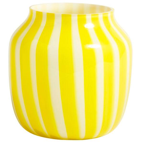 Hay-Juice Wide Vase, Yellow/White