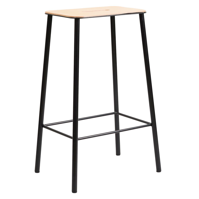 Adam Stool Barstol 65 cm, Läder/Matt Svart