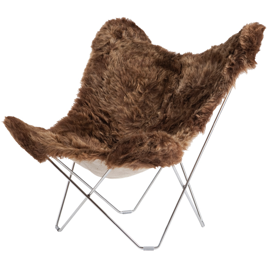 Iceland Mariposa Butterfly Chair, Shorn Brown/C...
