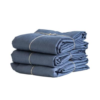 Bilde av Tell Me More-Linen Duvet Cover, Navy Blue