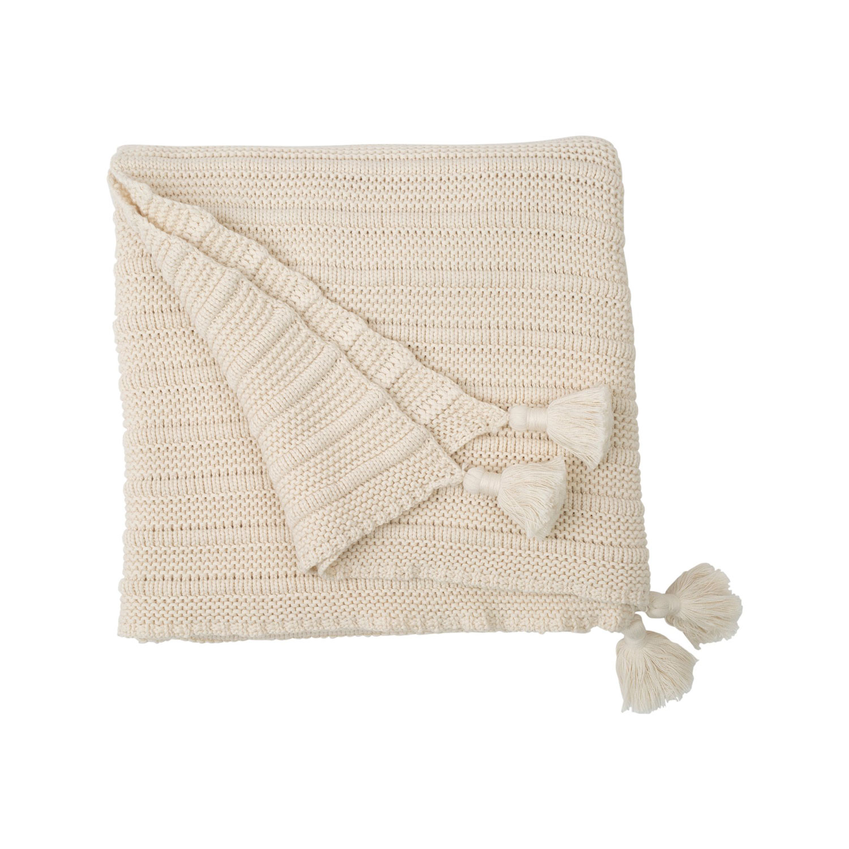 Knitted Tassel Pläd 130x170, Vit