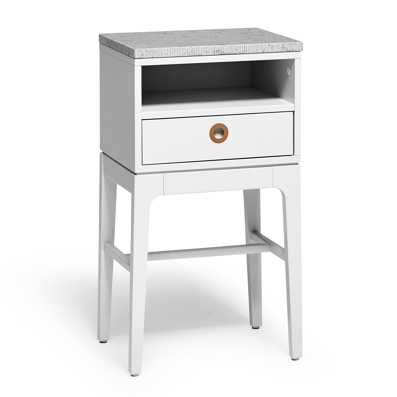 Hollviken Bedside Table Tall Legs Light Grey
