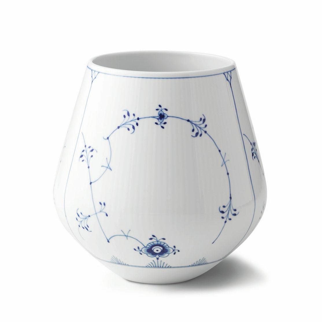 Blue Fluted Plain Vas 20,5cm