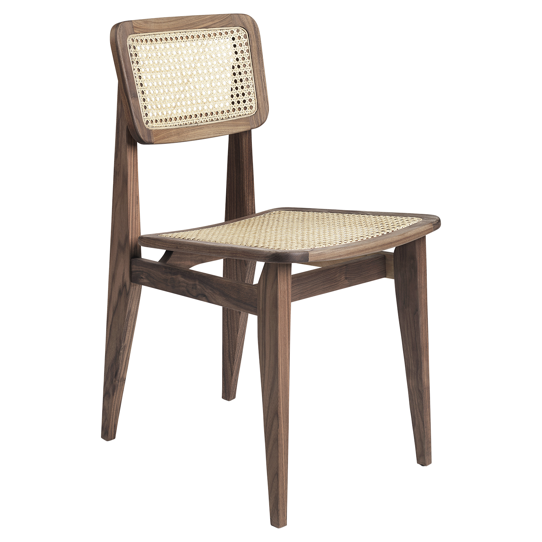Gubi-C-Chair Dining Chair, Walnut/Cane