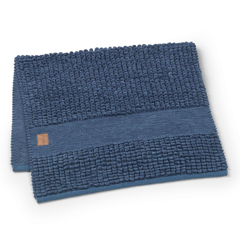 Checkered Bath Rug: Check Bath Rug 100x60cm, Dark Blue